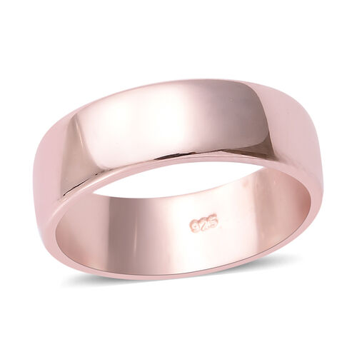 Rose Gold Overlay Sterling Silver Plain Band Ring