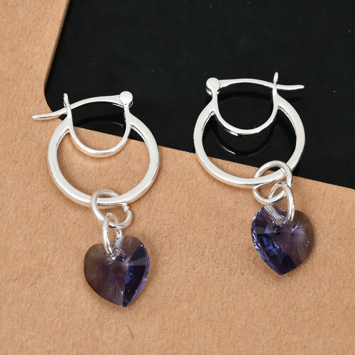 J Francis Crystal from Swarovski Tanzanite Crystal Heart Drop Hoop Earrings (with Clasp) in Sterling Silver