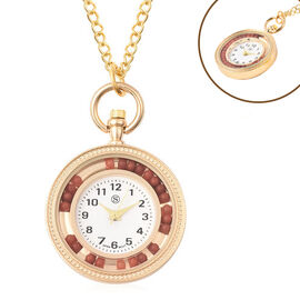 STRADA Japanese Movement Pocket Watch with Chain (Size 30) and Moving Red Agate Beads Around the Dia