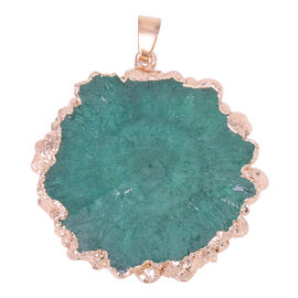 Green Drusy Quartz Pendant in Yellow Gold Tone 83.50 Ct.
