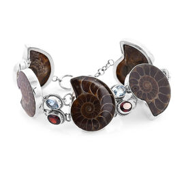 Royal Bali Collection - Ammonite, Sky Blue Topaz and Mozambique Garnet Bracelet (Size 8 with 0.5 inc