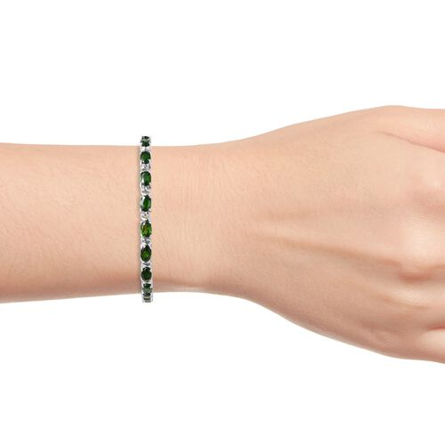 Russian Diopside (Ovl) Bracelet (Size 7) in Rhodium Overlay Sterling Silver 9.50 Ct, Silver wt 9.00 Gms