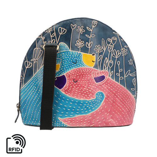 SUKRITI 100% Genuine Leather RFID Protected Bear Couple Round Crossbody Bag with Adjustable Shoulder
