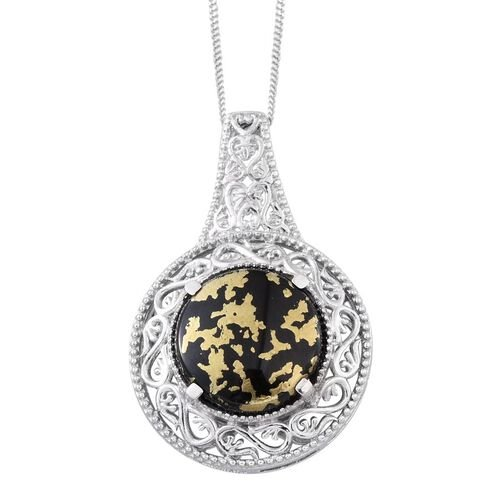Goldenite (Rnd) Solitaire Pendant With Chain in Platinum Overlay Sterling Silver 7.000 Ct.