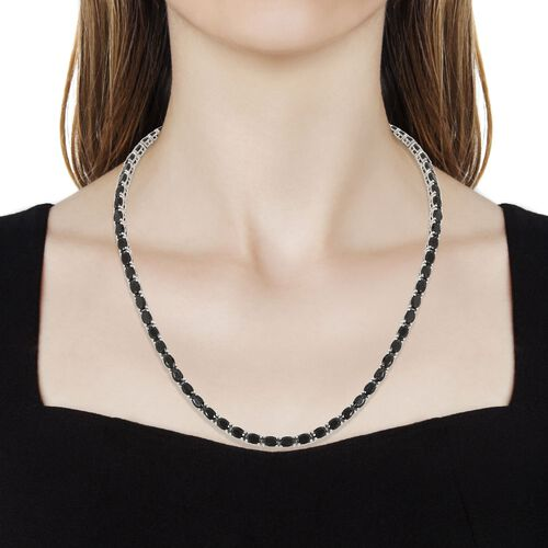 Elite Shungite (Ovl) Necklace (Size 18) in Platinum Overlay Sterling Silver 20.25 Ct, Silver wt. 21.50 Gms