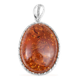69.98 Ct Baltic Amber Solitaire Pendant in Rhodium Plated Sterling Silver