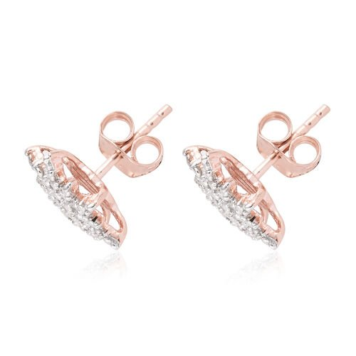 Diamond (Rnd) Starburst Stud Earrings (with Push Back) in Rose Gold Overlay Sterling Silver