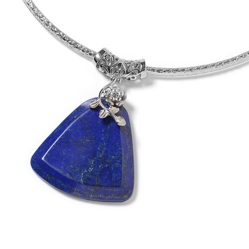 Lapis Lazuli Necklace (Size 15) and Pendant in  Stainless Steel  90.000 Ct.