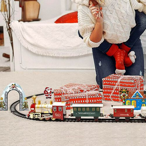 Battery Operated 4 Carriages Santas Express Delivery Train with Sound & Light