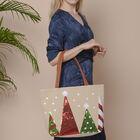 Tree Pattern Tote Bag with Zipper Closure (Size 32x10.5x35 Cm) - Khaki