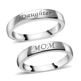 Set of 2 - Platinum Overlay Sterling Silver Ring