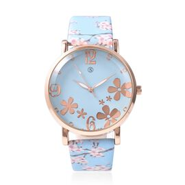STRADA Japanese Movement Water Resistance Floral Motif Adorned Watch - Blue