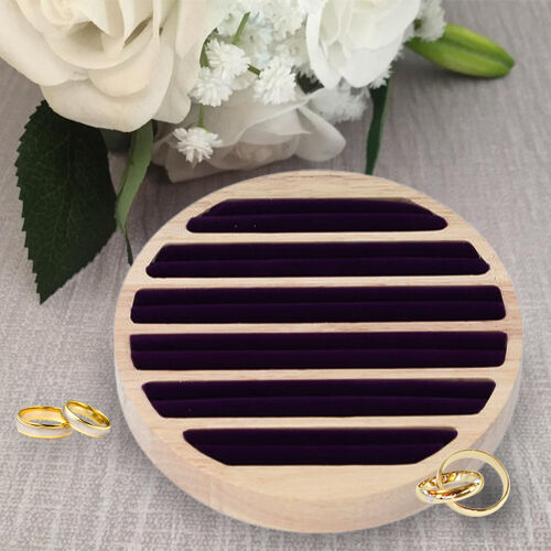 Round Bamboo Ring Tray with 6 Purple Velvet Slots (Size 15x1.7cm)