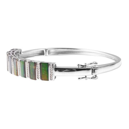 Canadian Ammolite AA Graded (Bgt), Natural White Cambodian Zircon Bangle (Size 7.5) in Rhodium Overlay Sterling Silver, Silver wt 18.00 Gms