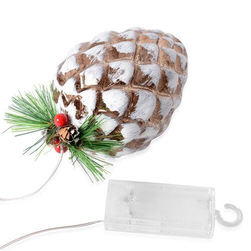 Christmas Decor - White and Coffee Colour Pine Cone LED Light (Size 14.5x9 Cm)