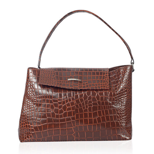 PREMIER LIMITED COLLECTION 100% Genuine Leather Croc Embossed Large Tote Handbag ( Size 40x25 cm)