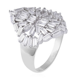 ELANZA Simulated Diamond Cluster Ring in Rhodium Plated Silver