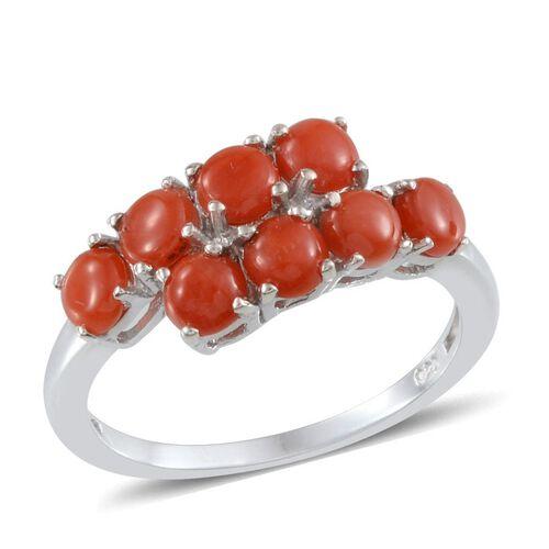 Natural Mediterranean Coral (Rnd) Ring in Platinum Overlay Sterling Silver 2.250 Ct.