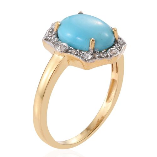 Arizona Sleeping Beauty Turquoise (Ovl 3.05 Ct), Natural Cambodian Zircon Ring in 14K Gold Overlay Sterling Silver 3.250 Ct.