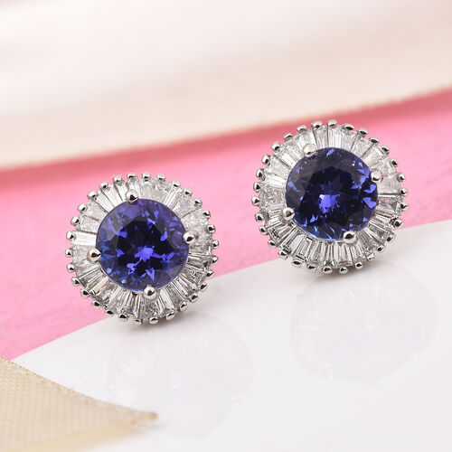 RHAPSODY 950 Platinum AAAA Tanzanite and Diamond Halo TSud Earrings (with Screw Back) 2.25 Ct, PLatinum wt. 4.25 Gms