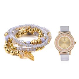 2 Piece Set - STRADA Watch with White Colour Strap and Beads Stretchable Bracelet Set