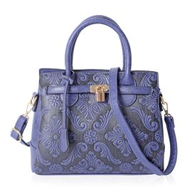 Navy Blue Colour Embossed Damask Pattern Tote Bag with External Zipper Pocket and Removable Shoulder