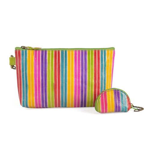 Set of 2 - Genuine Leather Yellow, Pink and Multi Colour Lining Pattern Handbag (Size 20x13 Cm) with Adjustable Strap and Coin Pouch (Size 7x5 Cm)