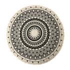 100% Cotton Mandala Round Cotton Rug with Laces or Fringes (Size 154X154 Cm) - Beige & Black