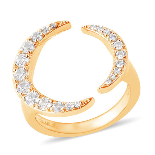 Isabella Liu Twilight Collection Cambodian Zircon Adjustable Full Moon Ring in Gold Plated Silver