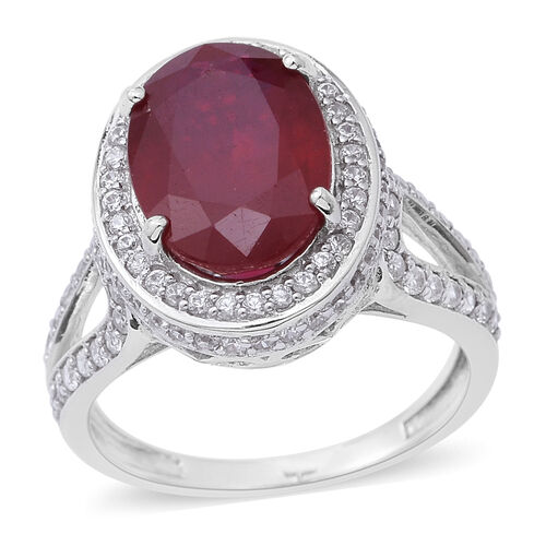 African Ruby (Ovl 8.15 Ct), Natural White Cambodian Zircon Ring in Rhodium Plated Sterling Silver 10.250 Ct. Silver wt 5.82 Gms.