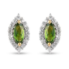 Russian Diopside, Zircon Earring in 14K Gold Overlay Sterling Silver 1.00 ct  1.000  Ct.