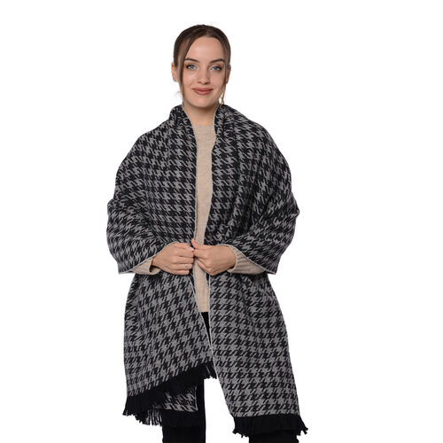 Close Out Deal LA MAREY Super Soft 100% Wool Shawl in Black Houndstooth Pattern with Tassels (200x69
