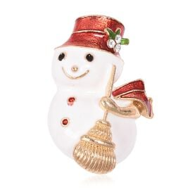 White Austrian Crystal (Rnd) Snowman Brooch in Gold Tone