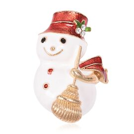 White Austrian Crystal (Rnd) Snowman Brooch in Gold Tone