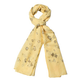 Yellow Colour Butterfly and Flower Pattern Scarf (Size 180x70 Cm)