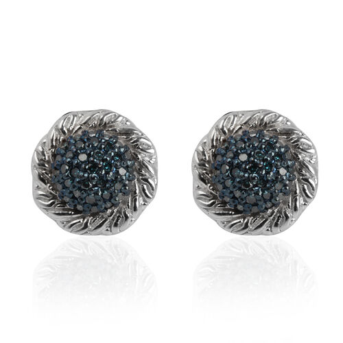Blue Diamond (Rnd) Stud Earrings (with Push Back) in Platinum Overlay Sterling Silver 0.350 Ct.