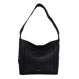 ASSOTS LONDON Courtney Pebble Grain Genuine Leather Hobo Bag (Size 31x12x29) - Black