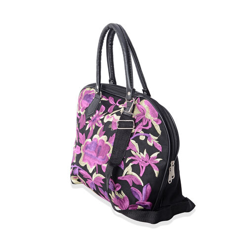 SHANGHAI COLLECTION Black and Purple Colour Flower Pattern Tote Bag with Adjustable and Removable Shoulder Strap (Size 42x29x14x28.5 Cm)