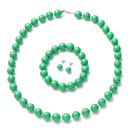 Shell Pearl Necklace (Size 20) Stretchable Bracelet and Stud Earrings in Green Colour