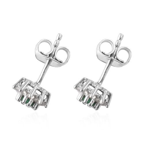Premium Emerald and Natural Cambodian Zircon Stud Earrings (with Push Back) in Platinum Overlay Sterling Silver 1.00 Ct.