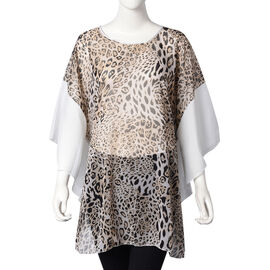 Leopard Pattern Poncho (One Size Fits All; 65x75 Cm) - Brown, Black and White