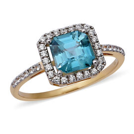 Ratanakiri Blue Zircon Asscher Cut and Zircon Halo Ring in 9K Gold