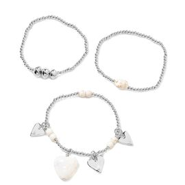 Set of 3 - White Howlite (Hrt), Stretchable Bead Bracelet (Size 7) with Heart Charm in Silver Tone
