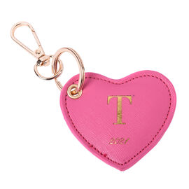 Pink Genuine Leather Heart Shaped Initial T Key Chain (7x6cm)