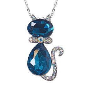 Simulated London Blue Topaz (Pear and Ovl), Simulated Mystic White Austrian Crystal Kitty Necklace (