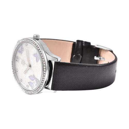 3 Piece Set - Simulated Diamond, Tahitian Shell Pearl and White Austrian Crystal Butterfly Watch with Black Strap, Necklace and Earrings