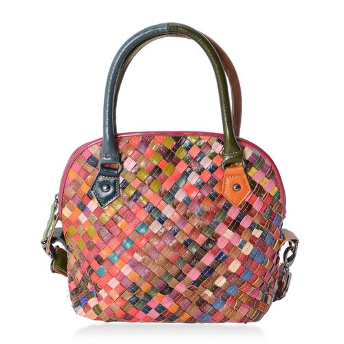 Morocco Collection Hand Woven 100% Genuine Leather Bag with Removable Shoulder Strap (Size 28x22x11 Cm)