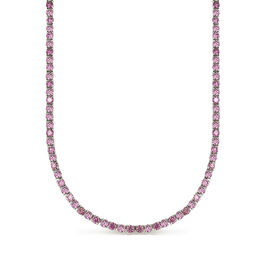 Simulated Kunzite Tennis Necklace in Silver Plated 19 Inch