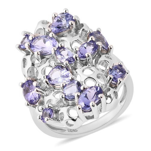 RACHEL GALLEY Misto Collection - Tanzanite Lattice Ring in Rhodium Overlay Sterling Silver 3.10 Ct.