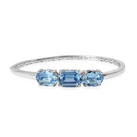 J Francis Aquamarine Colour Crystal From Swarovski 3 Stone Bangle in Sterling Silver 15.84 Grams